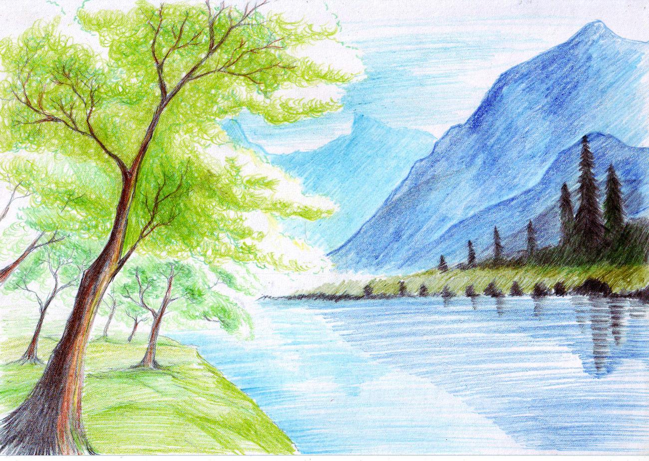 Рисунок заката с яхтой